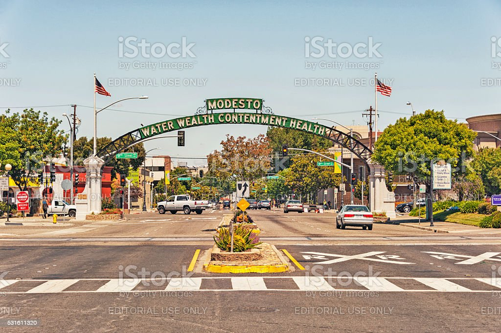 Modesto Arch welcomes visitors to this City stock photo