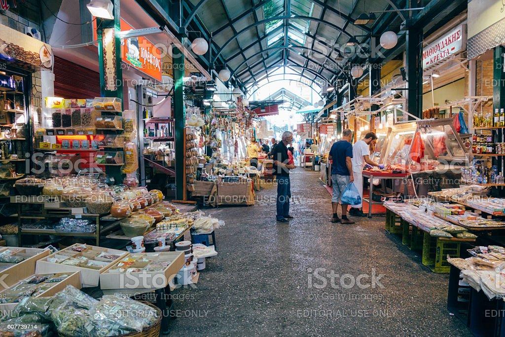 Modiano street market in Thessaloniki, Greece. stock photo