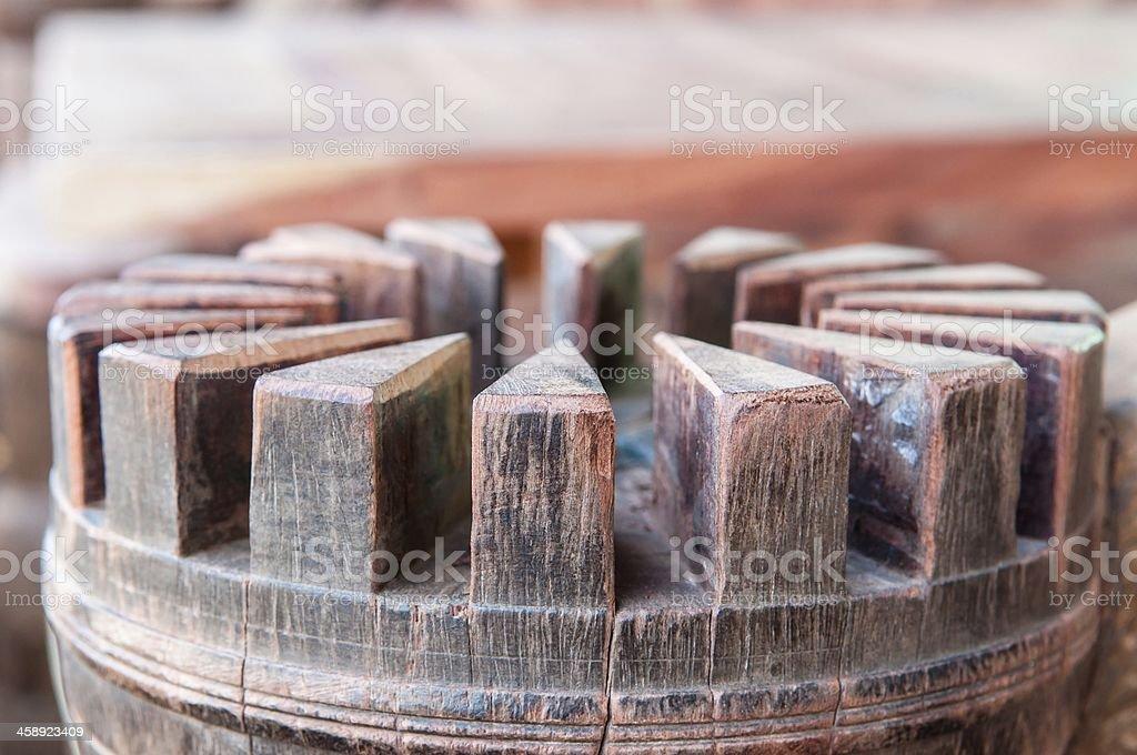 Modified Wagon wheel hub stock photo