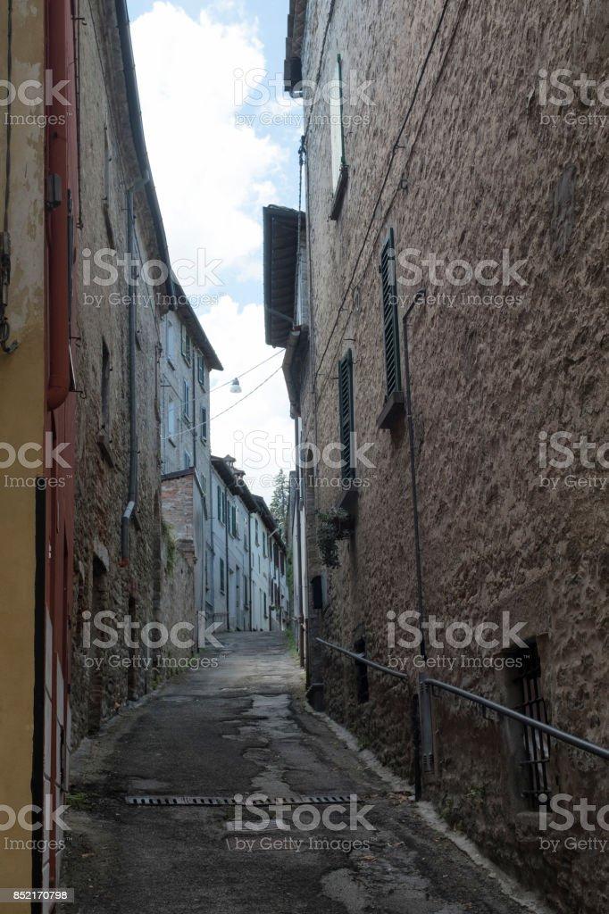 Modigliana (Italy): old street stock photo