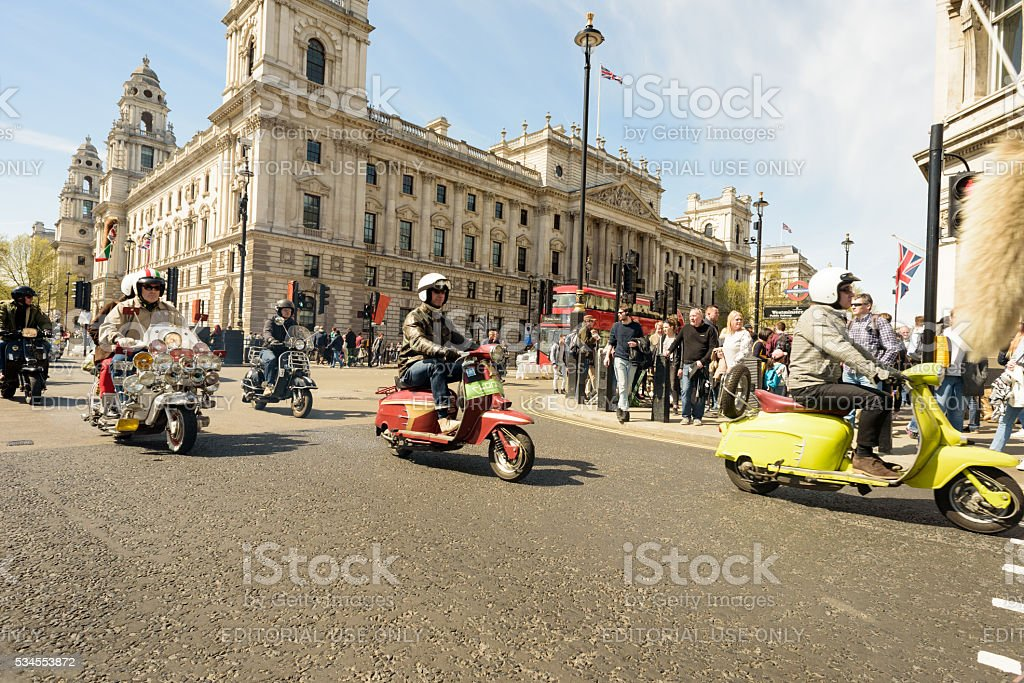 Mods and Scooters in London MayDay Rally stock photo