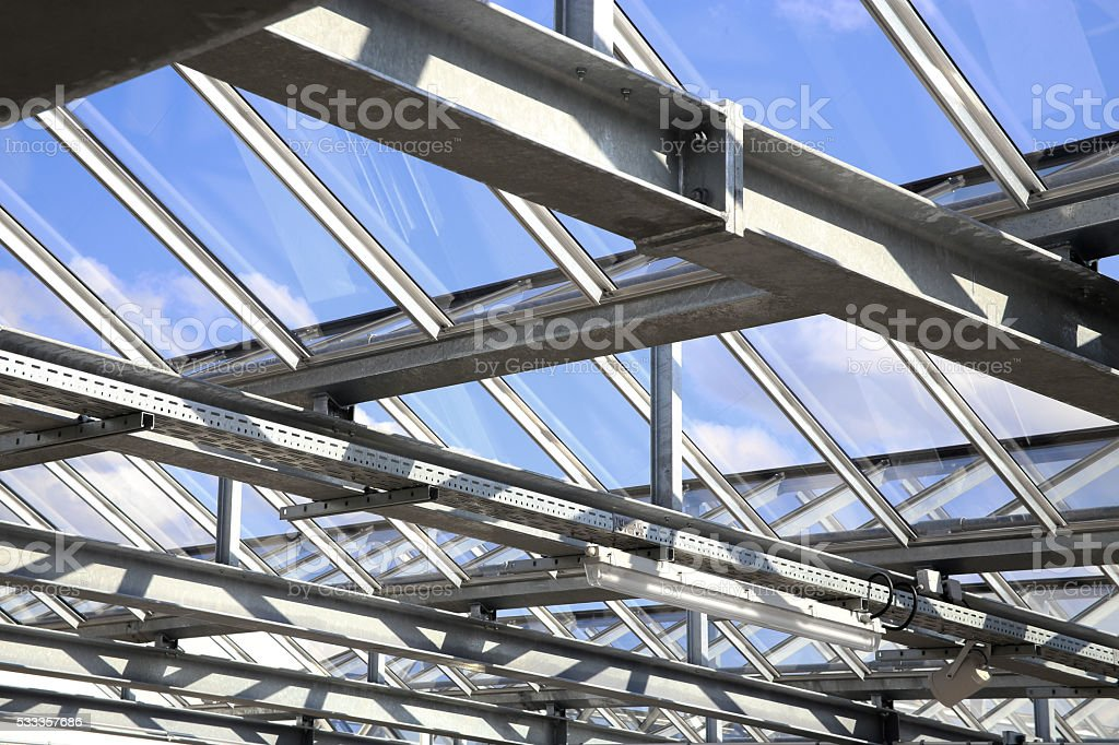 Modular glass ceiling of a swimming pool / office building / greenhouse stock photo