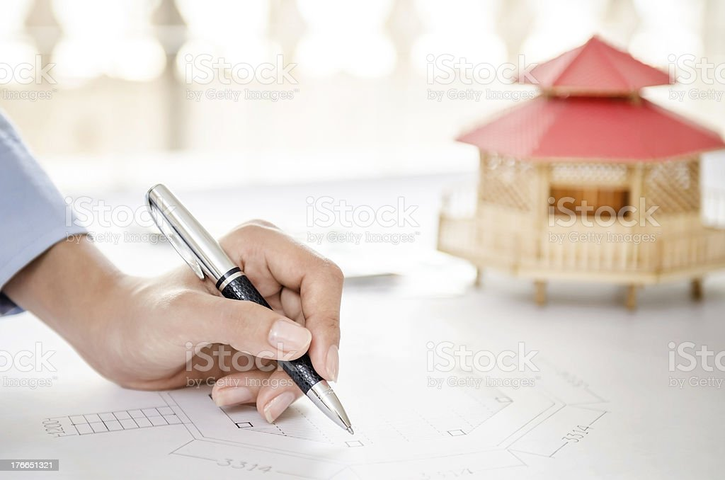 Modular home and drawing royalty-free stock photo