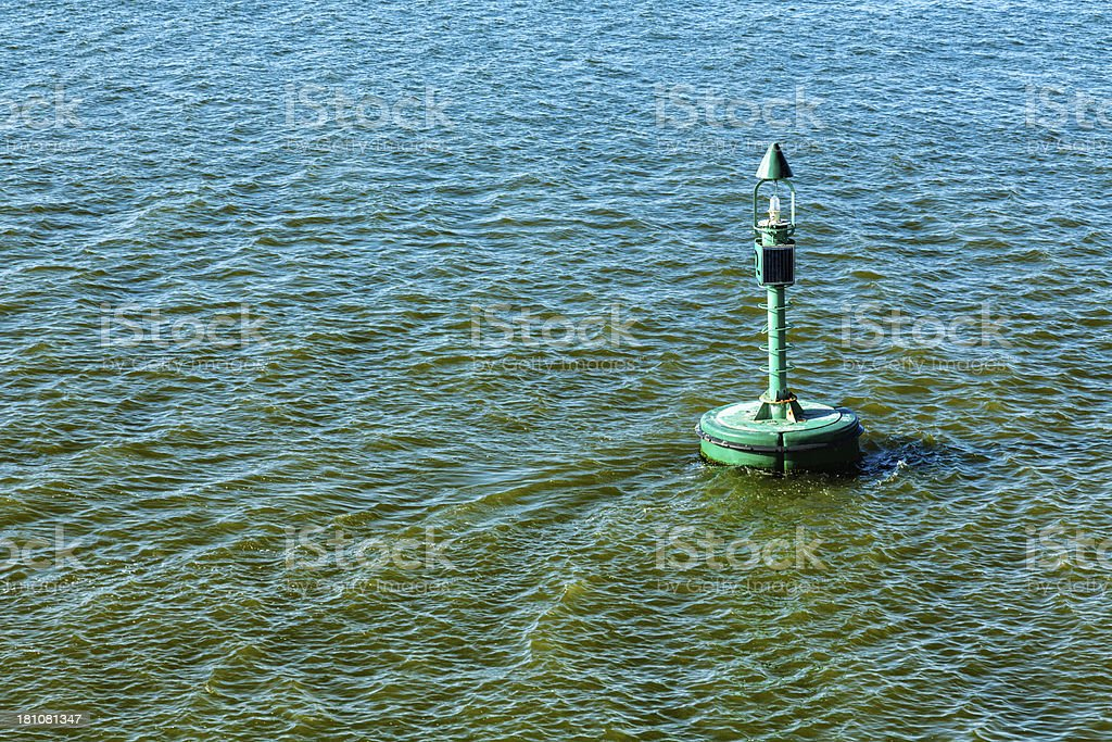 Modular signal buoy with positioning green light royalty-free stock photo