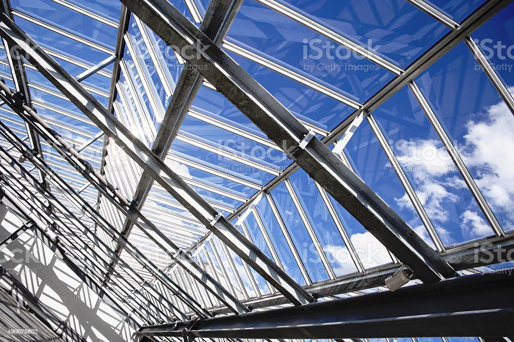 Modular transparent roof as a contemporary architectural detail stock photo