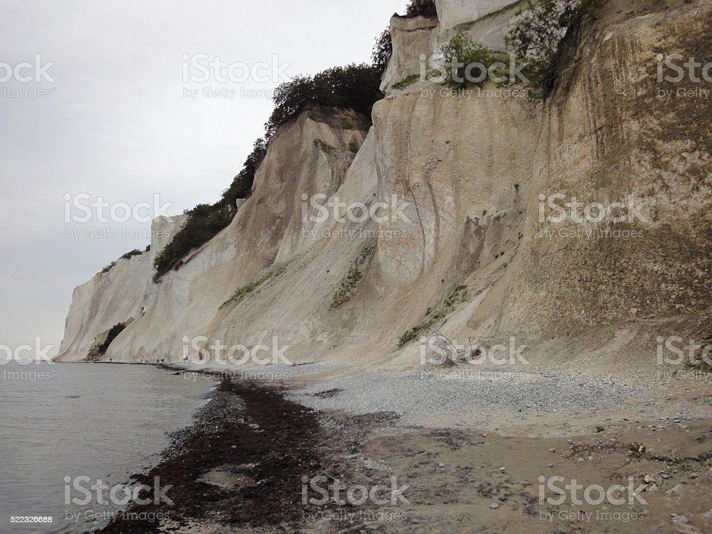 Moens klint white mountain and water stock photo