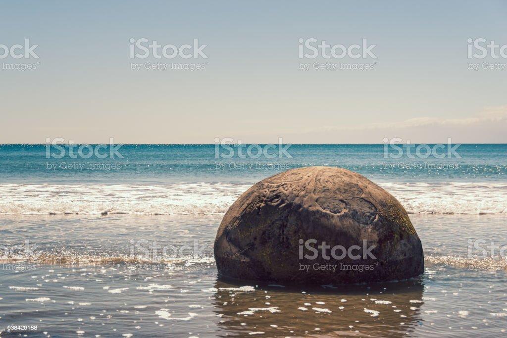 Moeraki Boulder, New Zealand stock photo