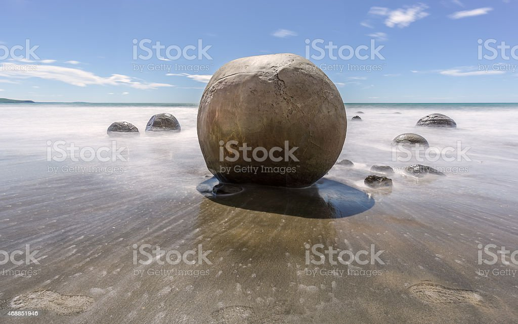 Moeraki Boulders and Footsteps stock photo