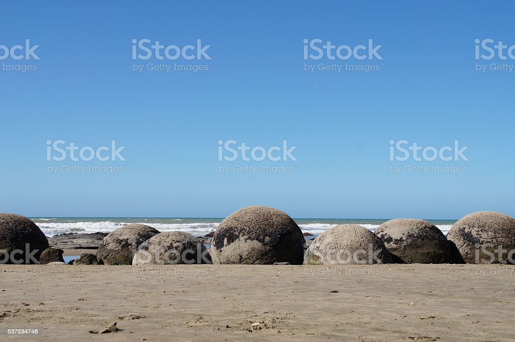 Moeraki boulders in Dunedin, NZ stock photo