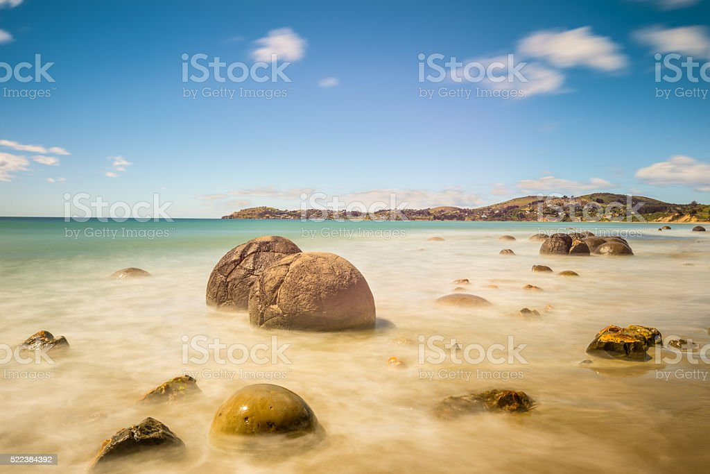 Moeraki Boulders in Otago, South Island of New Zealand stock photo