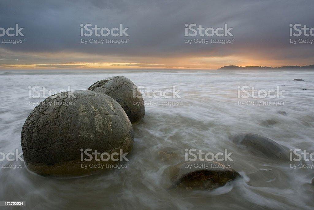 Moeraki Boulders in Surf at Dawn royalty-free stock photo