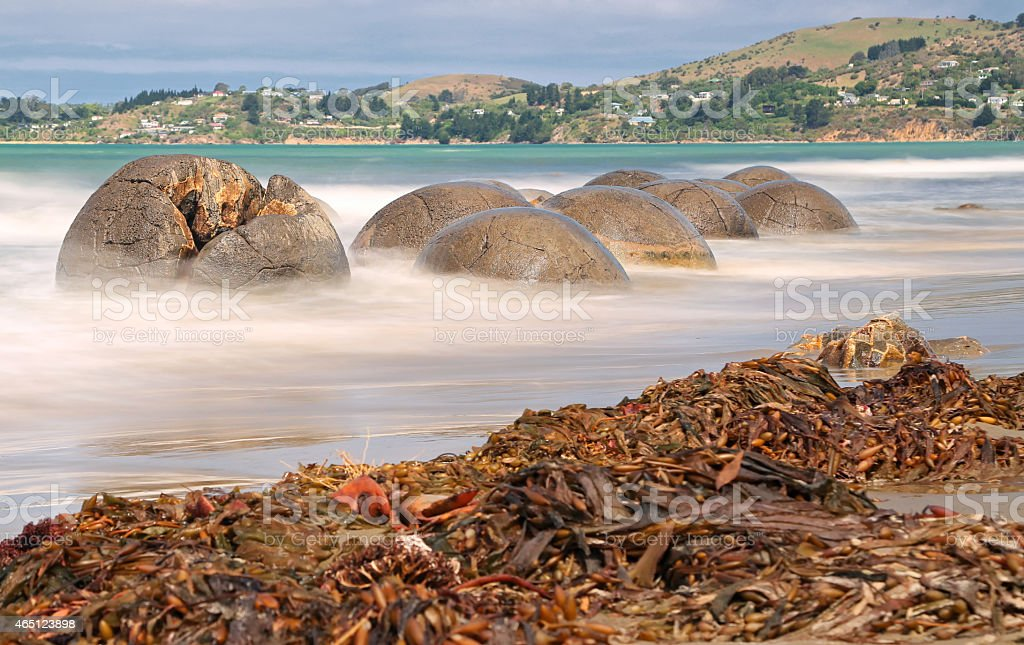 Moeraki Boulders near Hampden, New Zealand stock photo