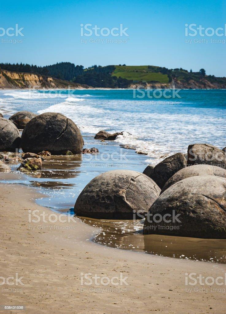 Moeraki Boulders, New Zealand stock photo