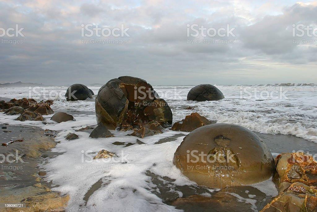 Moeraki Boulders royalty-free stock photo