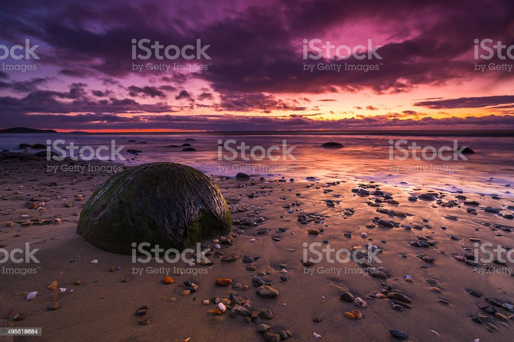 Moeraki Boulders Sunrise #1 stock photo