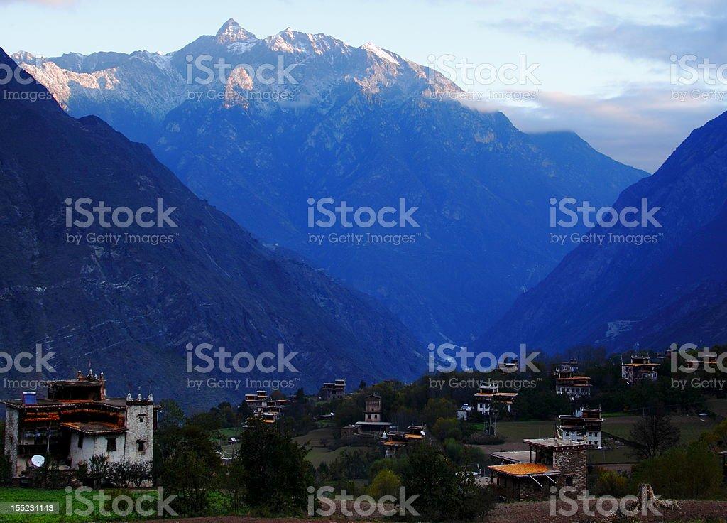 Moerduo Sacred Mountain & Tibetan Village stock photo