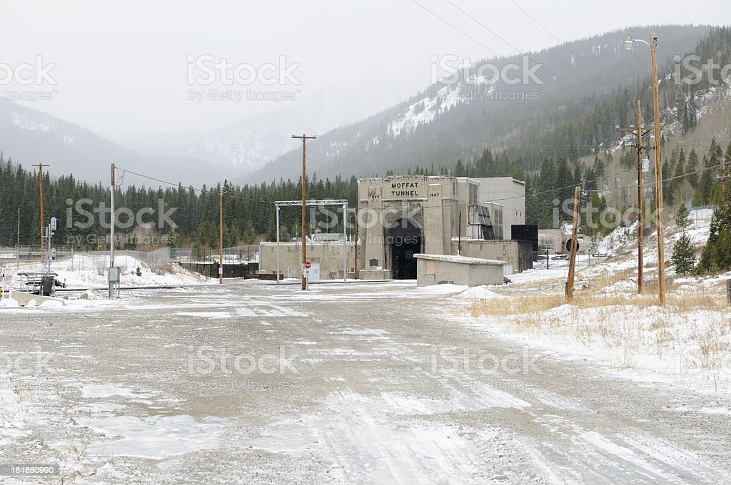 Moffat Tunnel Entrance in winter with snow stock photo