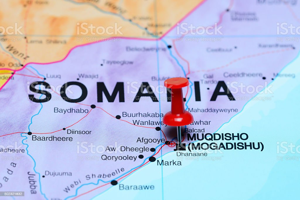 Mogadishu pinned on a map of Africa stock photo