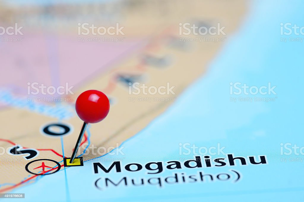 Mogadishu pinned on a map of Asia stock photo