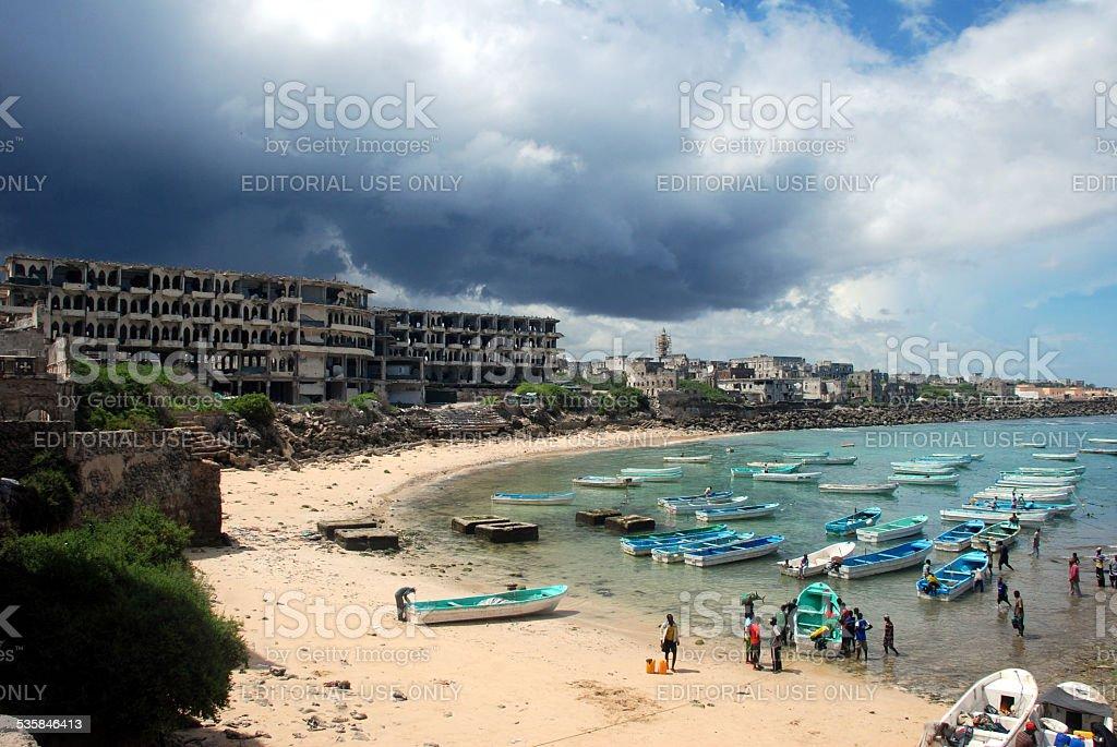 Mogadishu Port in Somalia. stock photo
