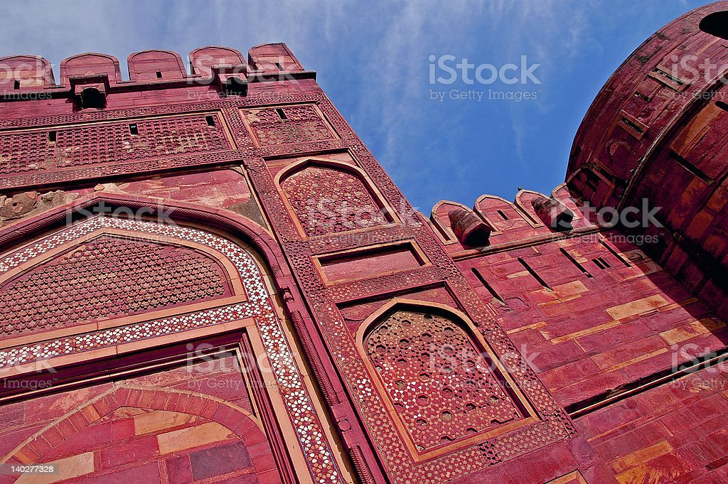 Mogul Architecture detail   of  RED FORT , New Delhi , India royalty-free stock photo