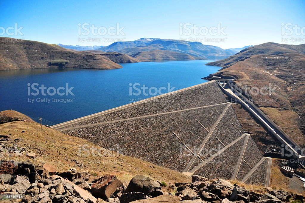 Mohale Dam, Lesotho: embankment rock-fill wall stock photo