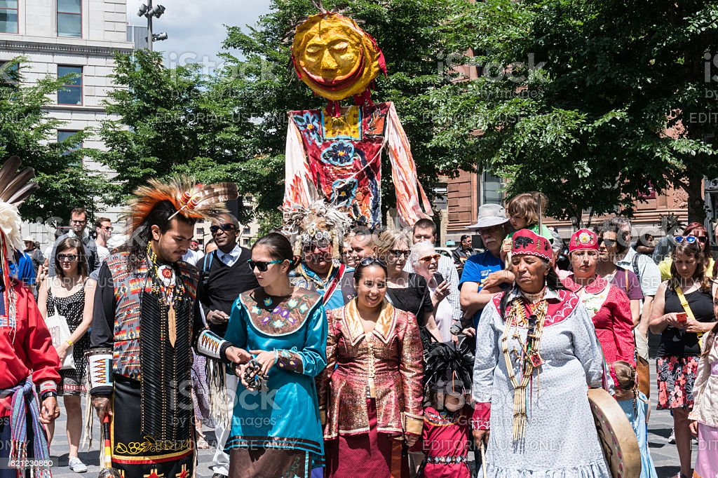 Mohawks celebrate National Aboriginal Day in Old Montreal stock photo