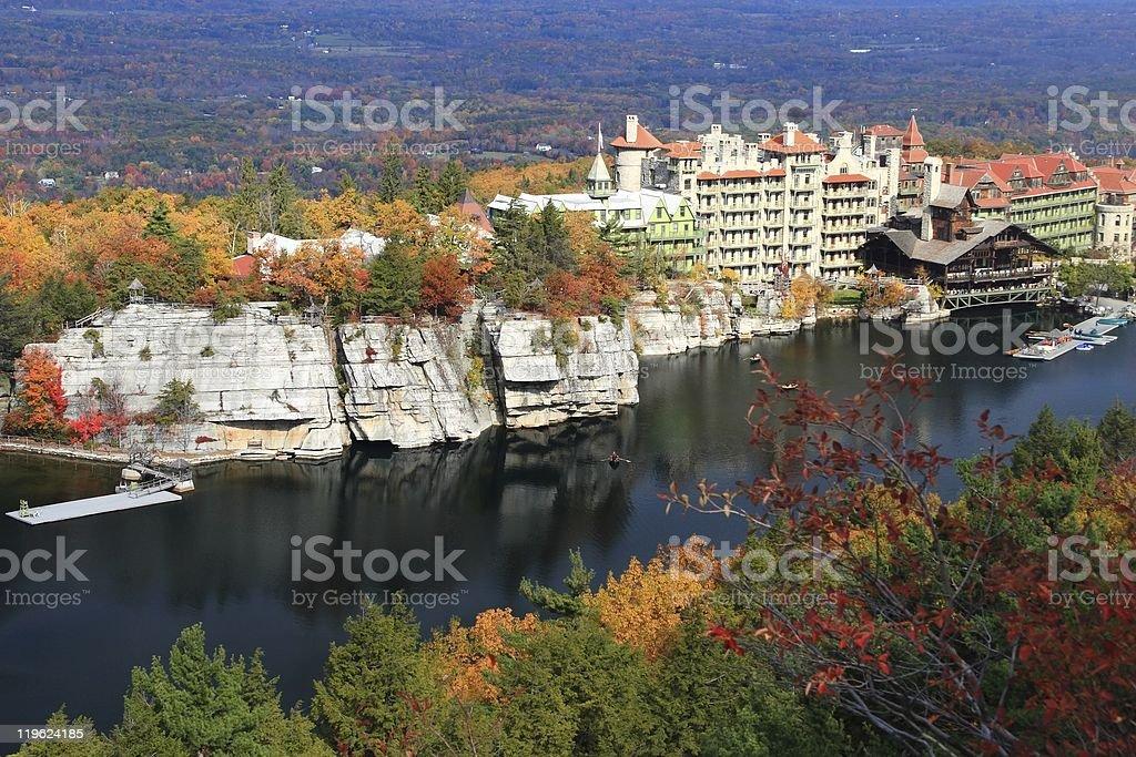 Mohonk Lake and Mountain House stock photo