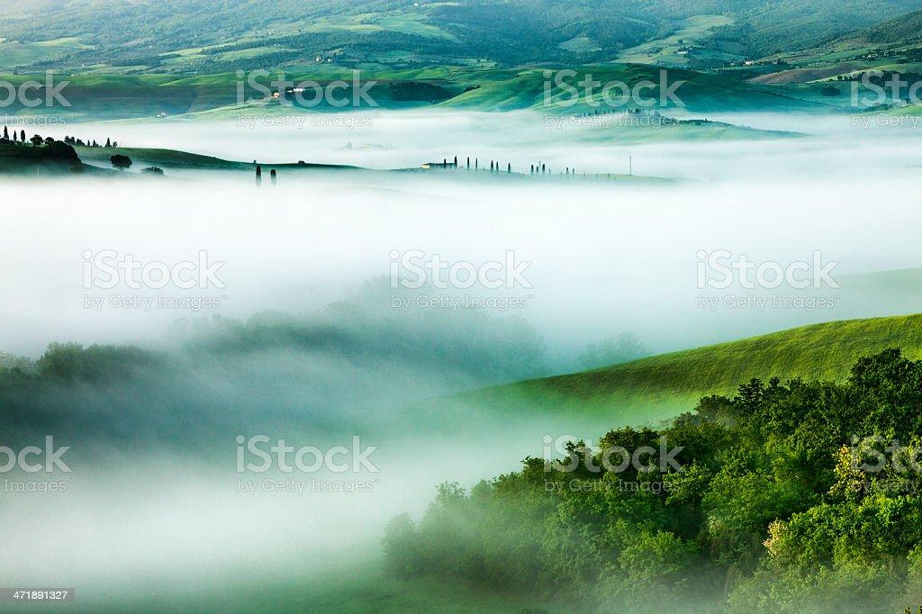 Moirning Fog in Tuscany royalty-free stock photo
