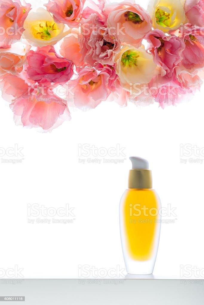 Moisturising serum for face skin with eustoma on  background stock photo