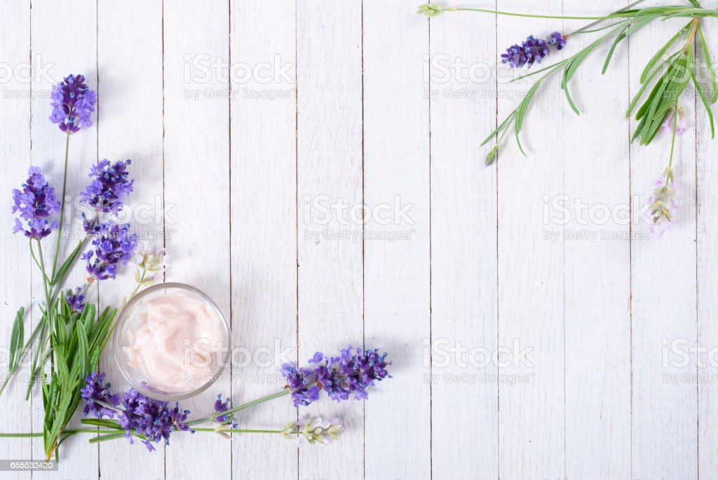 Moisturizer and lavender stock photo
