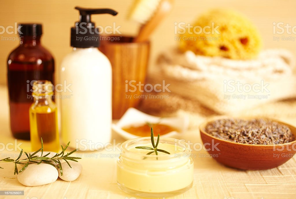 Moisturizer lotions, essential oils, lavender bath products. stock photo