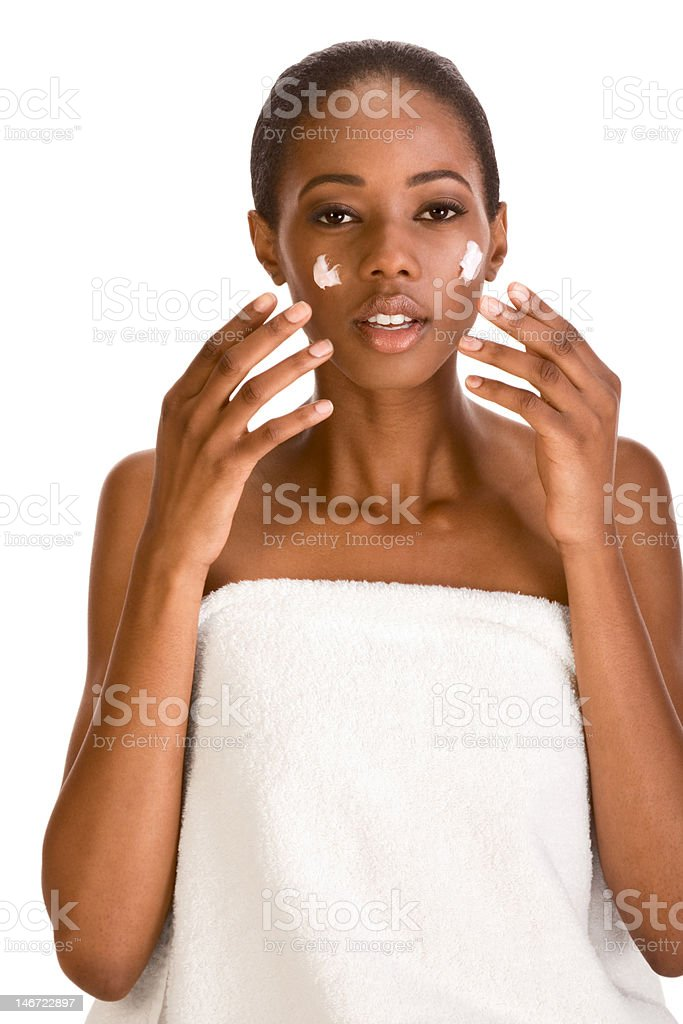 moisturizer Skincare of Naked Afro American woman royalty-free stock photo