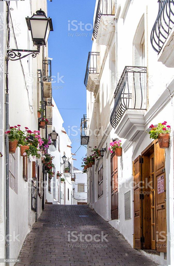 Mojacar Street / Callejuela de Mojácara (España- Spain) stock photo