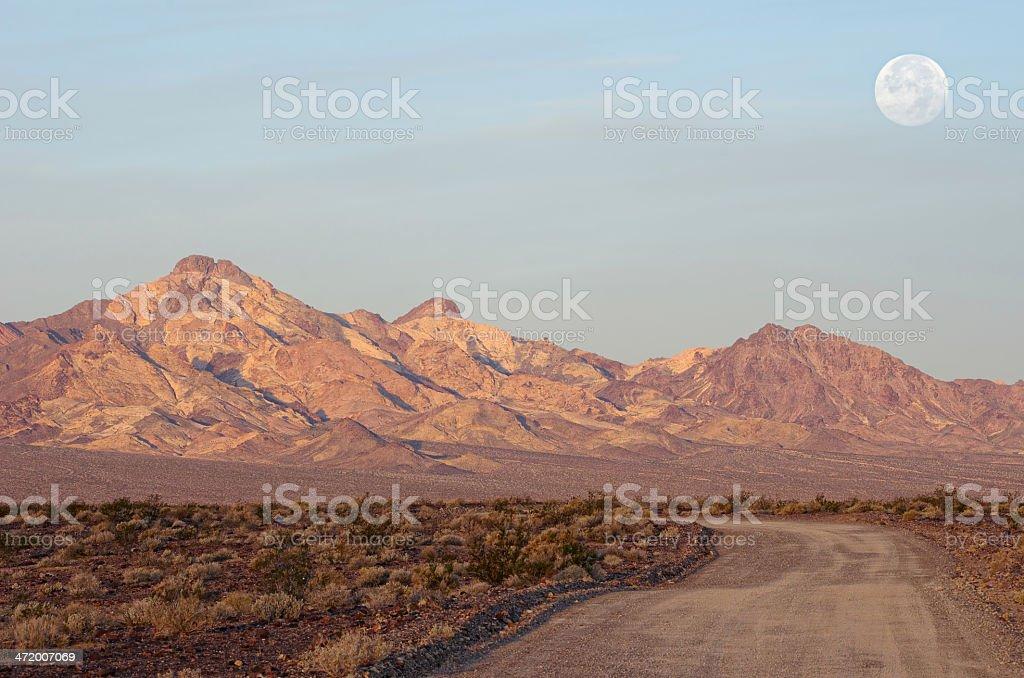 Mojave Desert Moonset in California stock photo