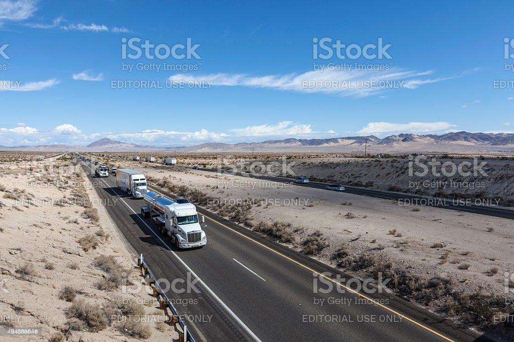 Mojave Desert Truck Traffic stock photo