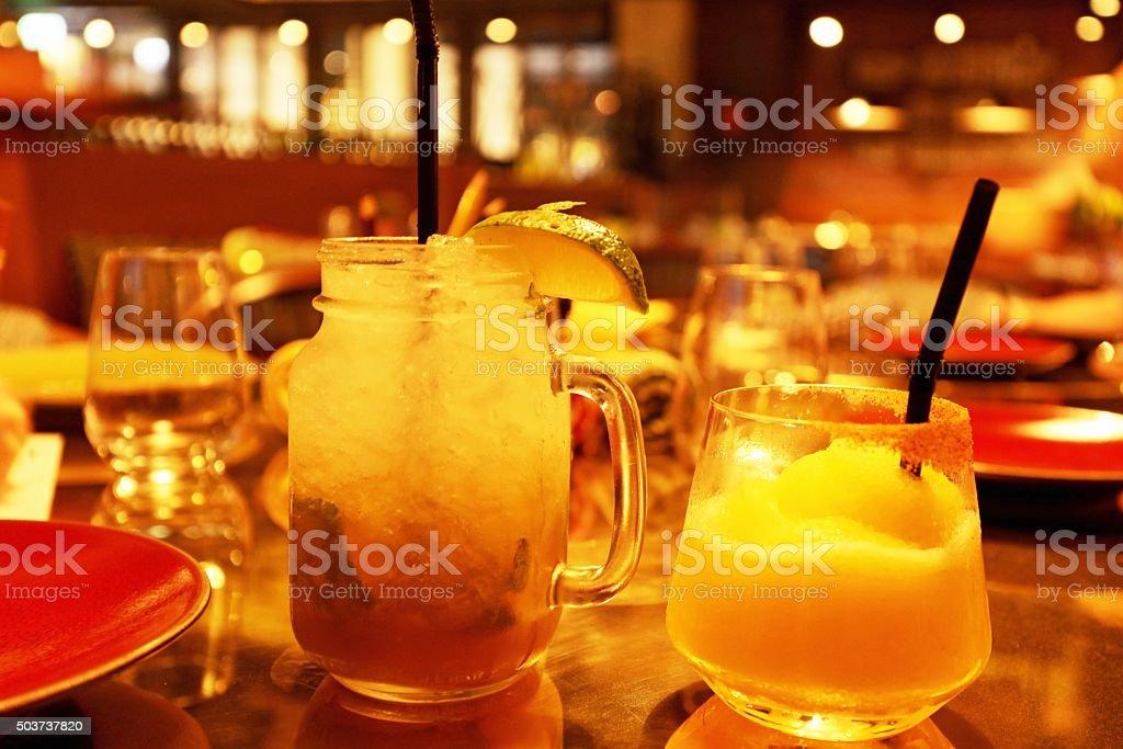 Mojito and Margarita Cocktails at a Bar stock photo