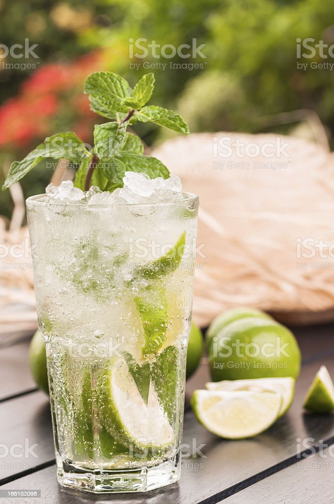 Mojito cocktail after gardening royalty-free stock photo