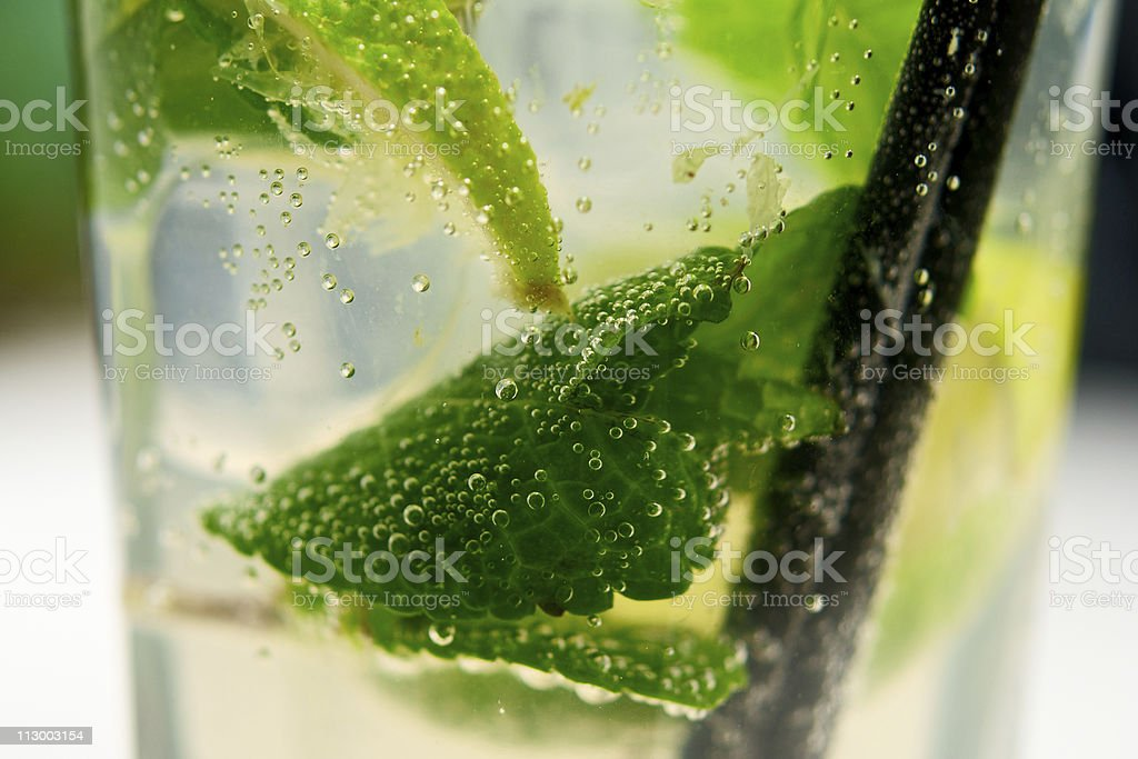Mojito cocktail closeup with air bubbles royalty-free stock photo