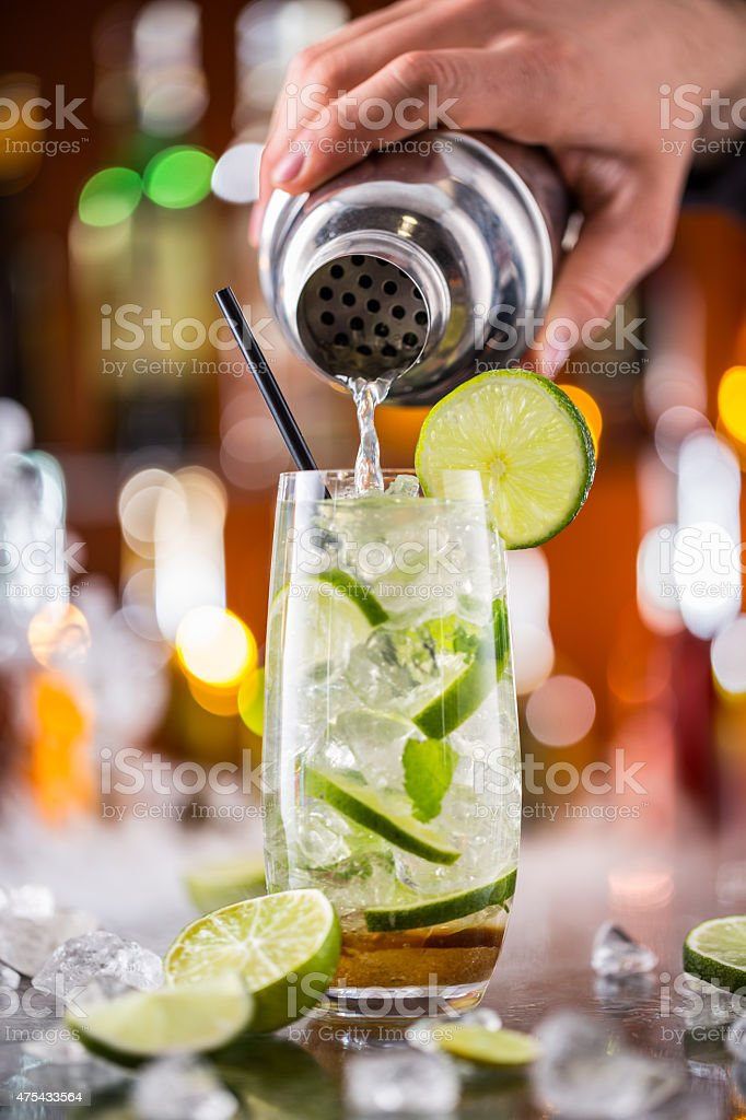 Mojito cocktail drink on bar counter stock photo
