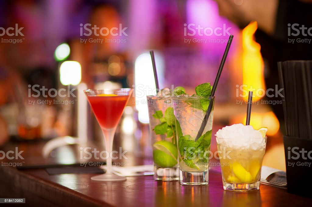 Mojito Cocktail in a Night Bar stock photo