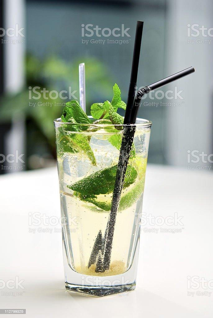 Mojito cocktail in glass with a background of interior cafe royalty-free stock photo