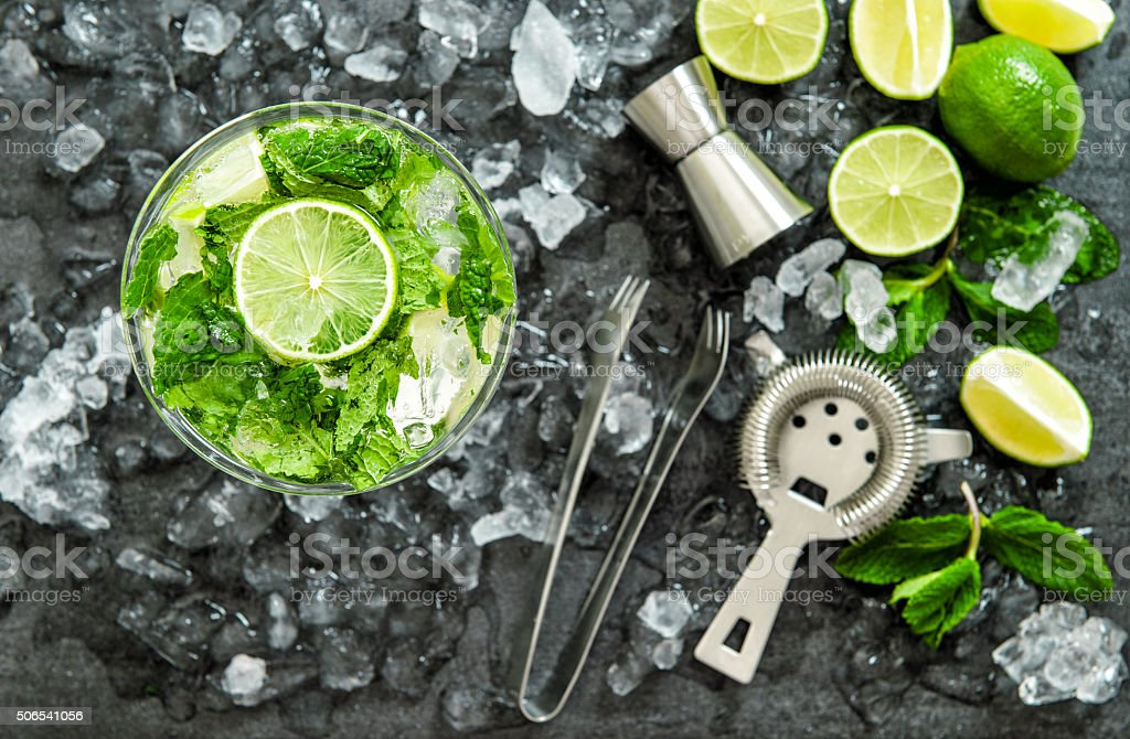 Mojito cocktail ingredients. Drink making accessories stock photo