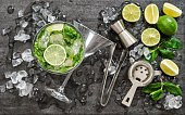 Mojito cocktail ingredients lime mint ice Drink making accessories