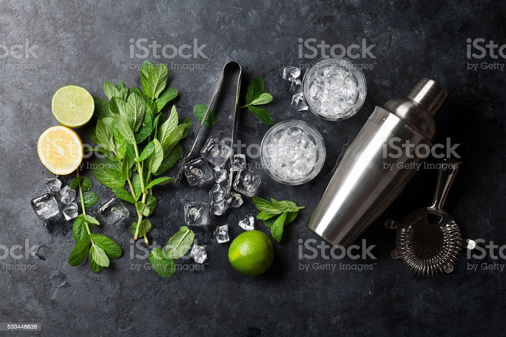 Mojito cocktail making stock photo