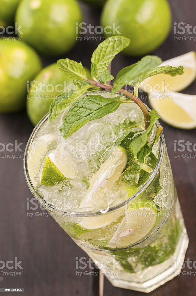 Mojito cocktail on a wooden table close-up top view royalty-free stock photo