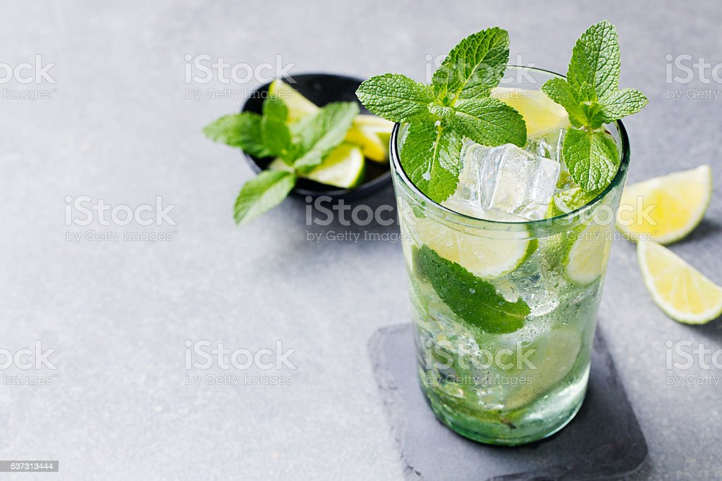 Mojito cocktail with lime and mint in glass Copy space stock photo