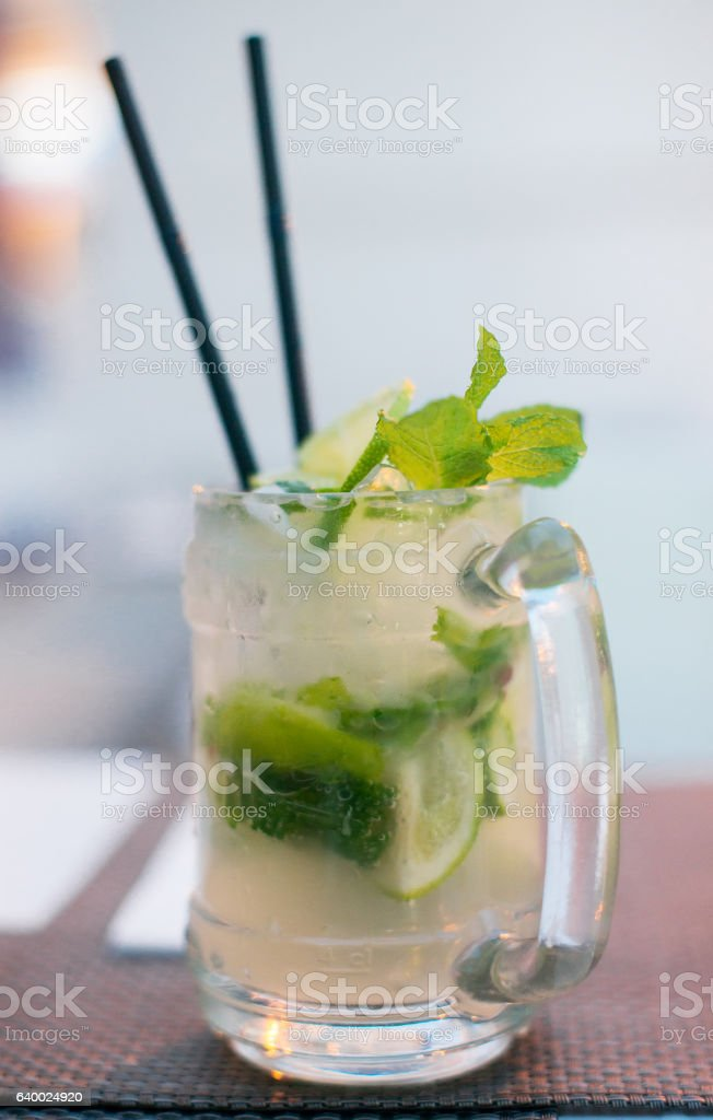 Mojito cocktail with lime and mint. stock photo