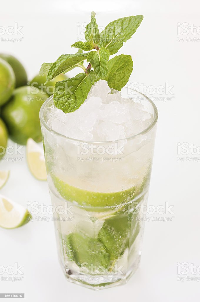 Mojito cocktail with limes background royalty-free stock photo