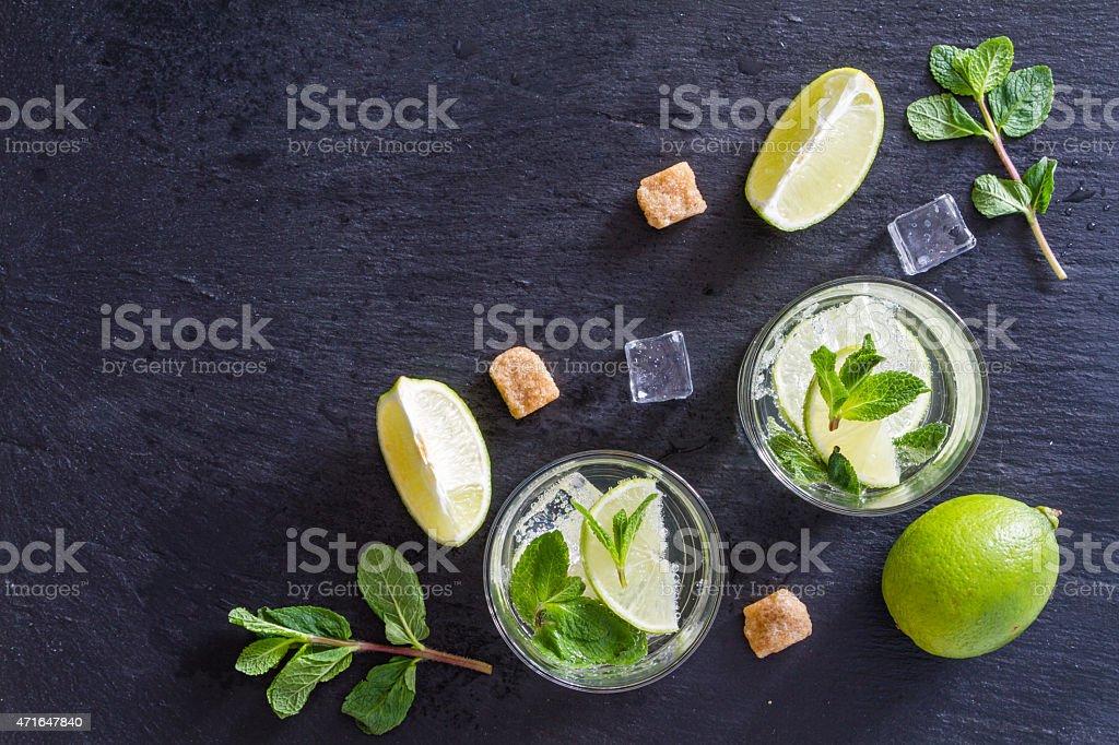 Mojito ingredients on black background stock photo